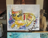 red cat Original, Drawing, Collage, stretched Canvas, mixed media, redblack, acrylicpouring, modern painting,
