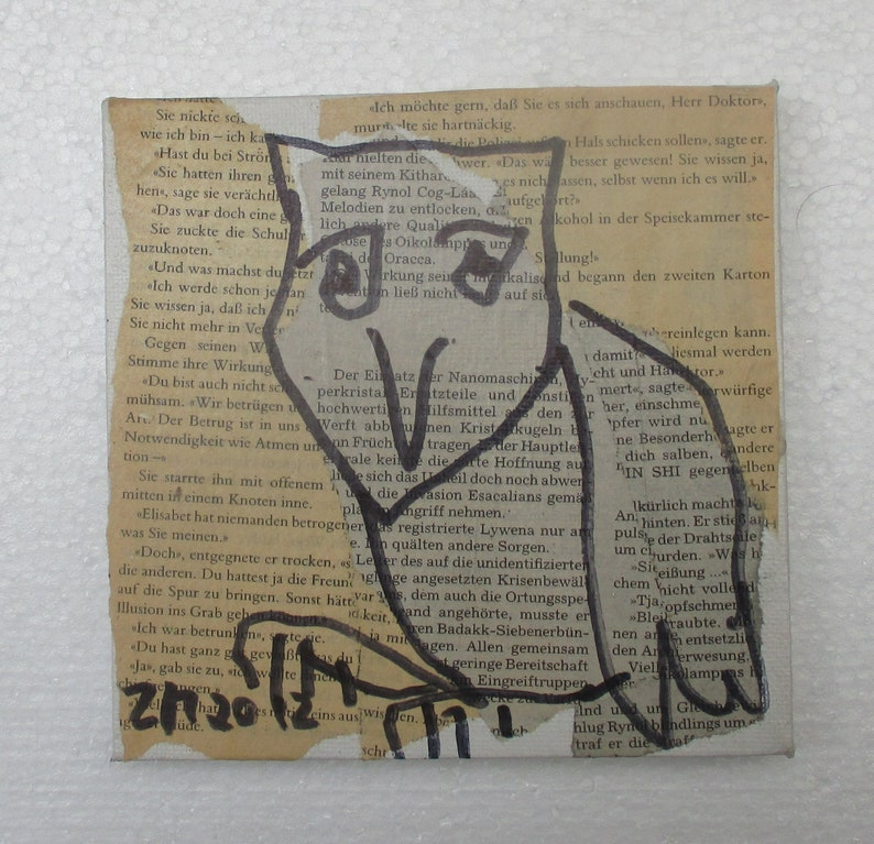 Owl Original Drawing on Collage / Canvas / art mixed media  image 0