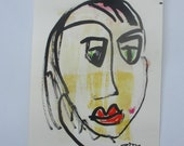 expressive face - Original Drawing with colored Ink and Bambu-Stick - free shiping 11,81 x 8,27 inc pink gold landscape