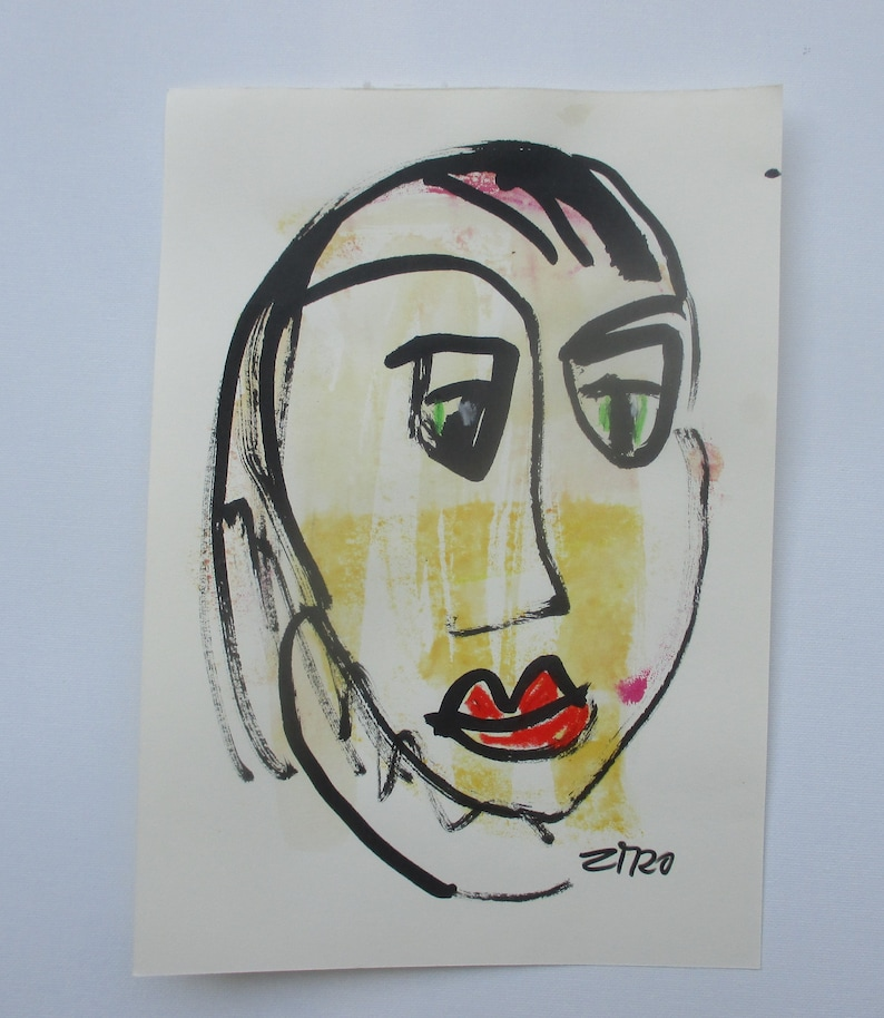 expressive face  Original Drawing with colored Ink and image 0