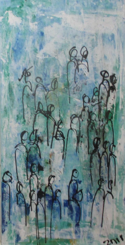 People Citytalk Original Drawing Oil /  Canvas / art free image 0