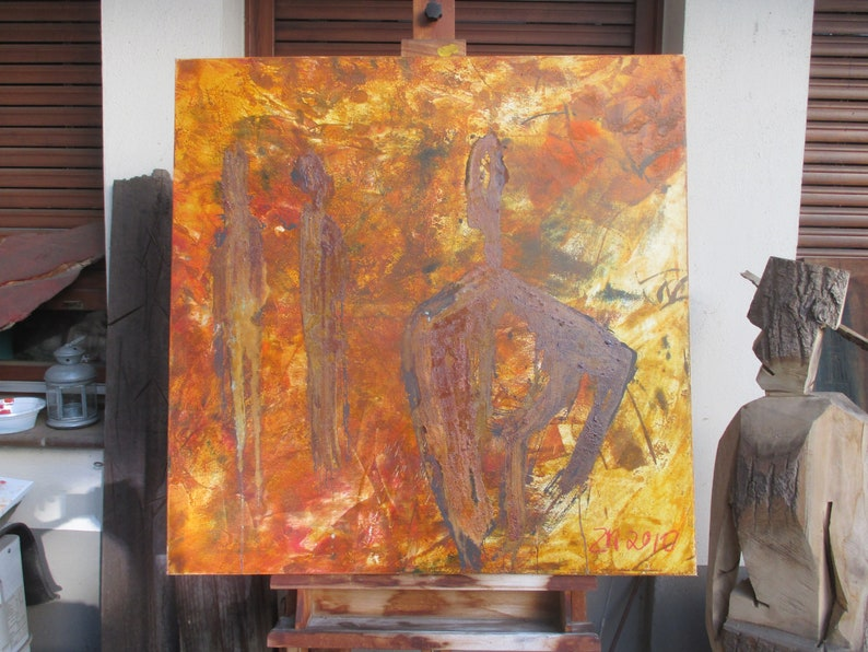 abstract orange people painting  fire unique expressive image 0