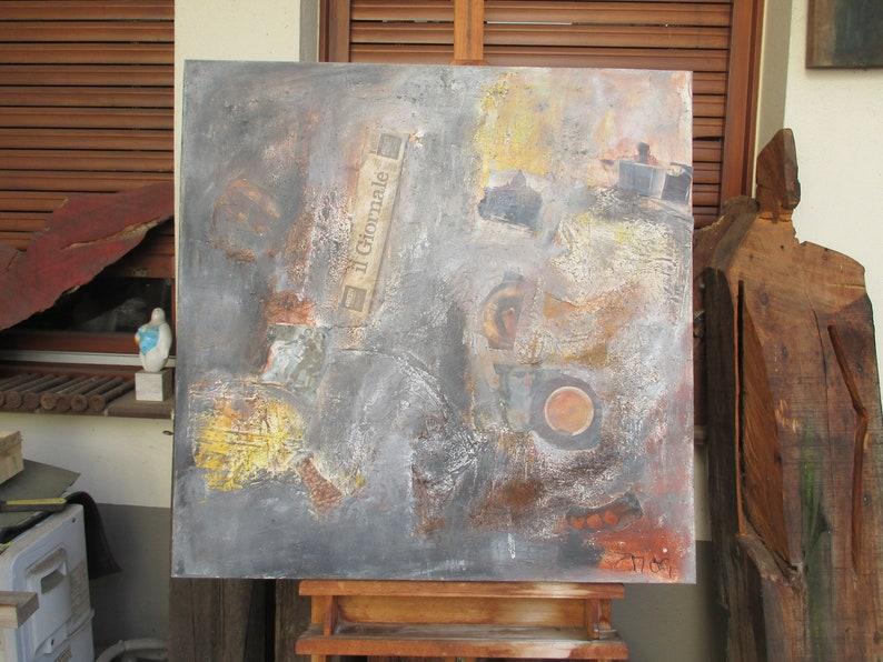 Espresso Original Painting Collage / Oil / Canvas / xl 31x31 image 0