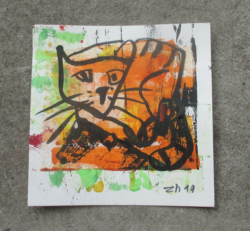 Cat  Original Drawing with colored Ink and Bambu-Stick  7.8 image 0