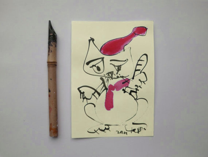 Cat  Christmas Original Drawing with colored Ink and image 0
