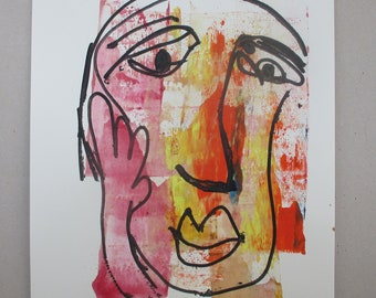 orange girl - Original Drawing with colored Ink and Bambu-Stick - free shiping 11,81 x 8,27 inc pink gold landscape