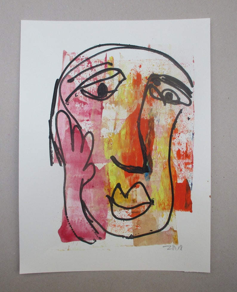 orange girl  Original Drawing with colored Ink and image 0