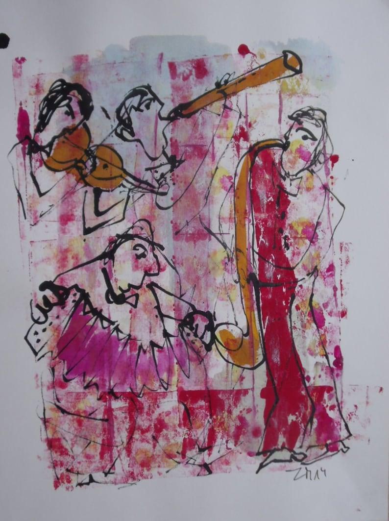 Musik Jazztheme expressive coffee Original Drawing Ink and image 0