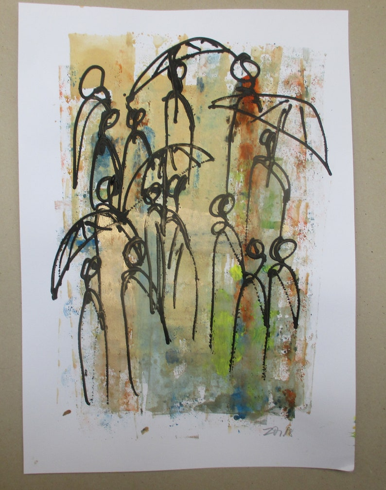 abstract angels expressive coffee Original Drawing Ink and image 0