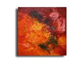 Fire Painting Collage / Oil / Canvas / xl- Original 39,3 x 39,3 inch home decor art