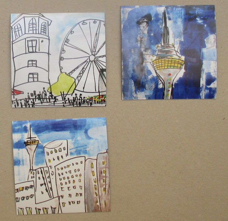 3 Düsseldorf Cityscenes  art on magnets x/10  free shiping  image 0