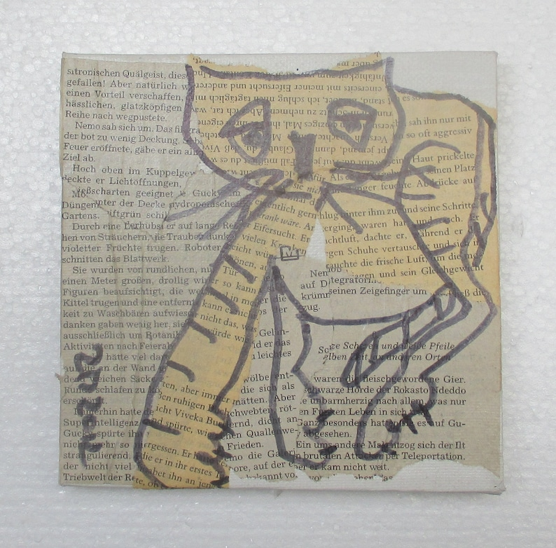 Cat Original Drawing on Collage / Canvas / art mixed media  image 0