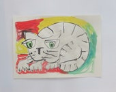big cat Original Drawing with colored Ink and Bambu-Stick 11,81 x 8,27 inch