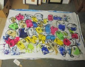 abstract colored faces xxl painting on canvas rolled in a tube