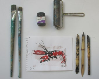 red lobster  - Original Drawing with colored Ink and Bambu-Stick - free shiping blue 8,27 x 5,51i