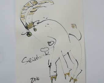 expressive capricorn  - Original Drawing with colored Ink and Bambu-Stick - free shiping 11,81 x 8,27 inc pink gold landscape
