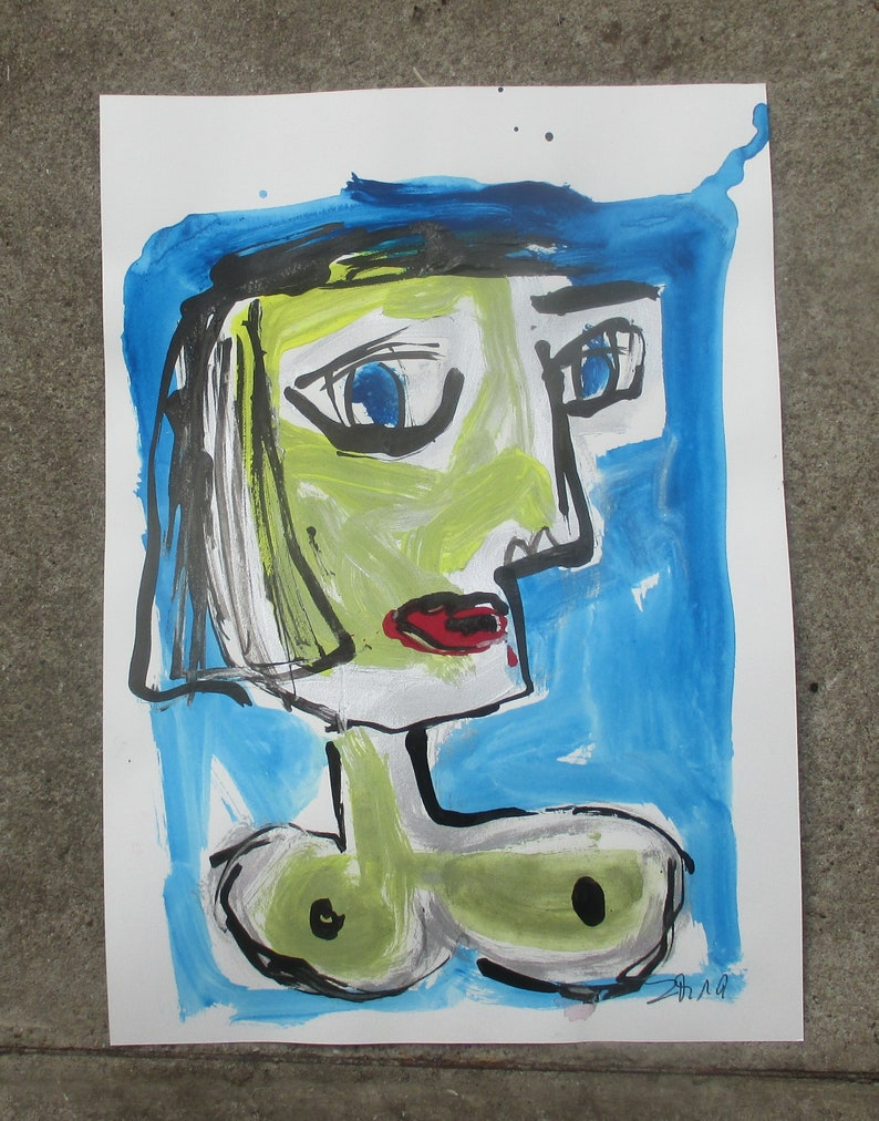 kubism yellow portrait expressive girl  Nude Original Drawing image 0