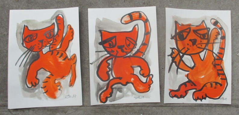 3 expressive cats  Original Drawing with colored Ink and image 0