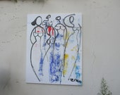 elegant girls Original, Drawing, Collage, stretched Canvas, mixed media, redblack, acrylicpouring, modern painting,