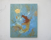abstract blue with rust and gold, Original Drawing Oil / Canvas / art xl 31,4 x 39,37 inch
