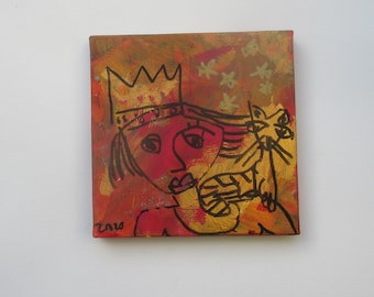 little blue catqueen -  Original-Drawing on Canvas