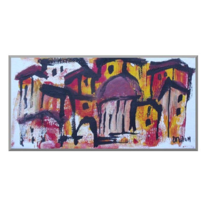Landscape Original Drawing on Canvas / Acryl  black red pink image 0