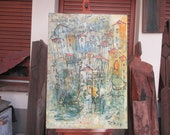 Tuscany Italy Painting Original Drawing Oil / Canvas / art xl 27,56 x 39,37 inch