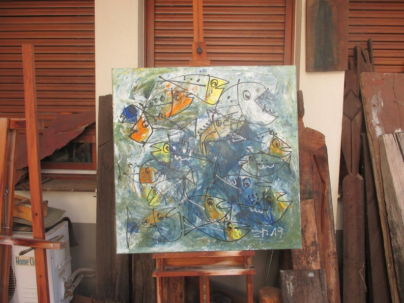 abstract crazy fishes painting  unique expressive informel image 0
