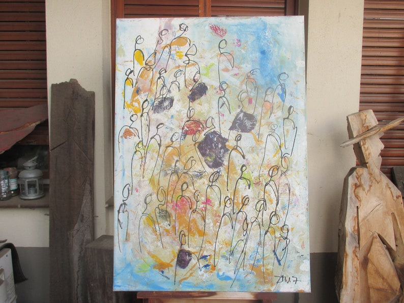 People Original Drawing Oil /  Canvas / art free shiping xl image 0