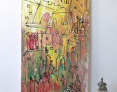 Tuscany, Italy, Original Drawing acylic / Canvas / art free shiping xl 20,56 x 39,37 inch