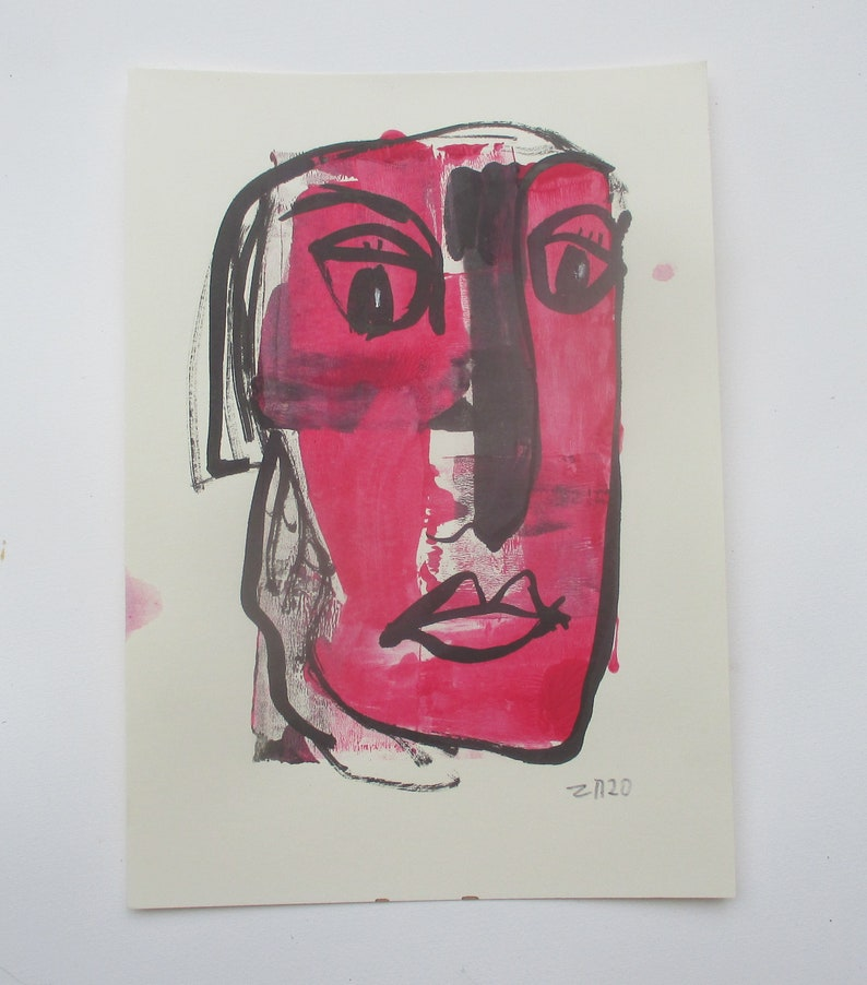 abstract red girl  expressive coffee Original Drawing Ink and image 0