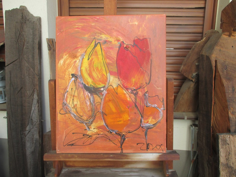 red flowers and tulips Canvas / Drawing 1974 x 1574 inch image 0