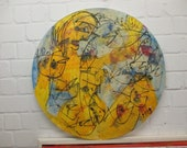 yellow nude with fishes Original Drawing Acryl / Canvas / art round canvas 35,5 inch