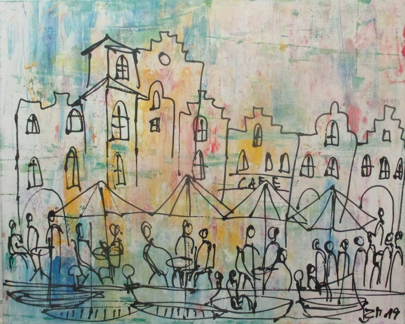 harbour cityscene blue and yellow hollidayfeeling xl painting  image 0
