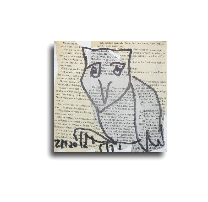 Owl Original-Drawing on Collage / Canvas free shiping  inch image 0