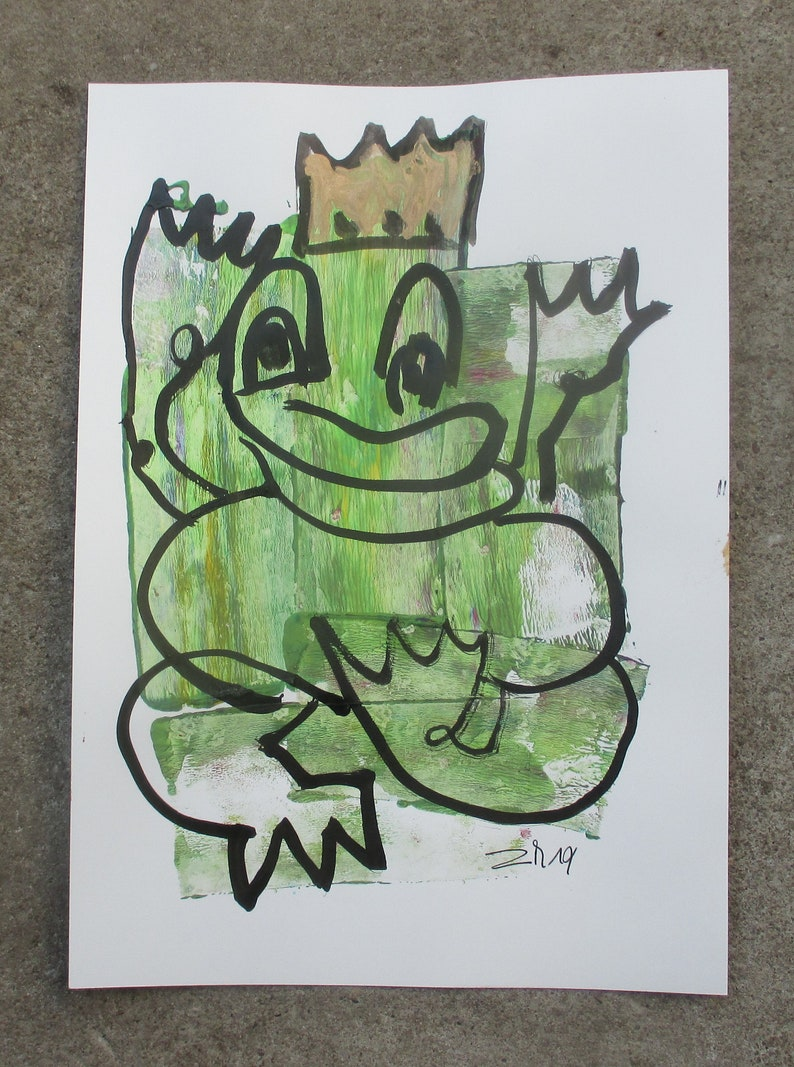 expressive king of frogs  Original Drawing with colored Ink image 1