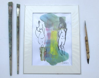two Ladies - people - Original Drawing with colored Ink and Bambu-Stick - free shiping yellow purple 8,27 x 5,51i
