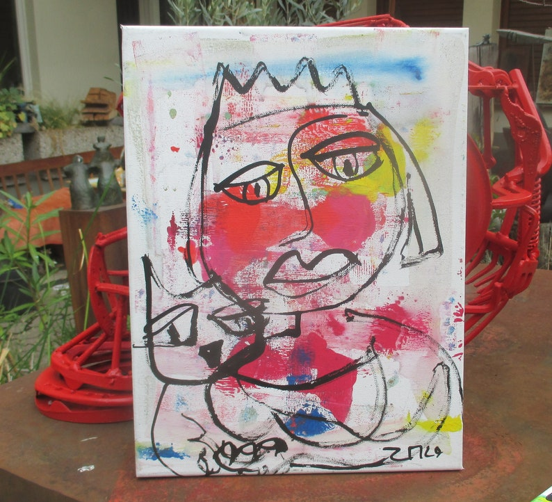 crazy girl with cat expressive portrait Canvas / Drawing 157 image 0