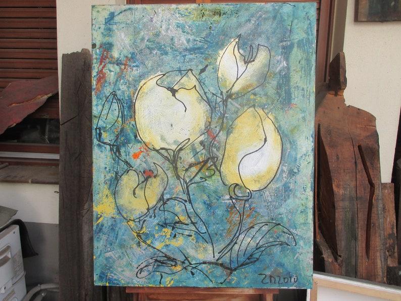 winterflowers mixedmedia Original Drawing Oil /  Canvas / art image 0