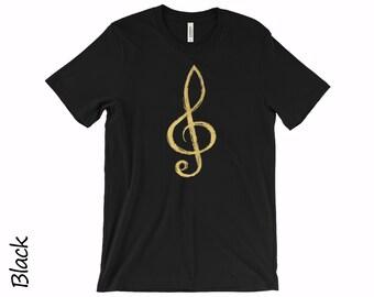 4a82c176c7c Treble Clef Tshirt Music Tshirt Unisex T-shirts Mens T-shirt Womens T-shirt  Music Gold Clef T-shirt Cotton T-shirt Gold Logo Tshirt
