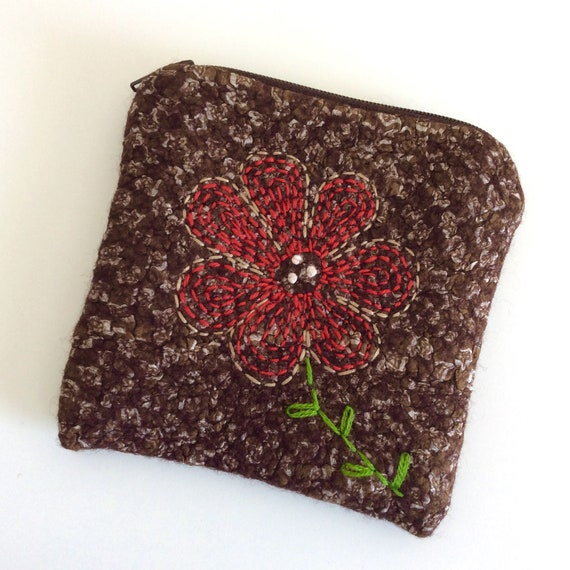 Bag-hand-felted bag-wallet with silk fibers-ironing bag-exchange for small money or accessories