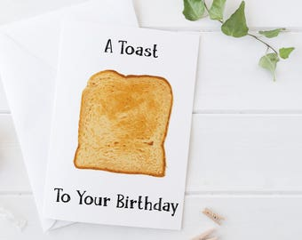 A Toast To Your Birthday, Funny Birthday Card , Pun Card, Funny Card, Boyfriend Birthday, Girlfriend Birthday, Pun Birthday Card, Food pun