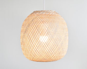 Bamboo Pendant Light, Round Woven Bamboo Hanging Lamp, Re-purposed Spherical Fish Trap Ceiling Lamp, Ball Shape Pendant Lamp, Boho / PL07