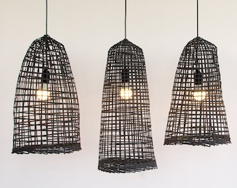 Free Shipping, Wabisabi, Black Bamboo Pendant Light, Natural Ceiling Lamp, Asian Boho Woven Bamboo Hanging Lamp, Bohemian Decor / PL16