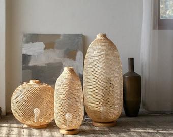 Flexible Bamboo Floor/Table Lamp, Fish Trap Floor Lamp, Asian Bohemian Woven Bamboo Table Lamp, Boho Chinese Lantern, Wabisabi light / FL05