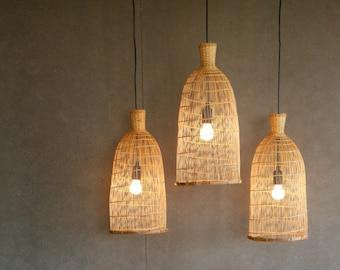 Bamboo Pendant Light Medium Width, Thai Fish Trap Pendant Lamp, Boho Woven Bamboo Hanging Lamp, Natural Lantern, Beach House Lamp / PL08