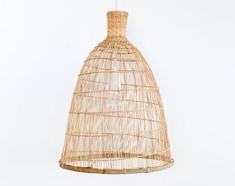 Free Shipping Bamboo Pendant Light, Rustic Bamboo Lantern, Boho Style, Ceiling Lamp, Asian Woven Bamboo Hanging Lamp, Wabi-Sabi Decor / PL15