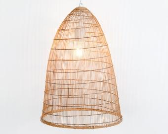 Wabi Sabi Thai Fish Trap Pendant Lamp, Boho Woven Bamboo Hanging Lamp, Natural Lantern, Bamboo Pendant Light, Beach House Lamp / PL19