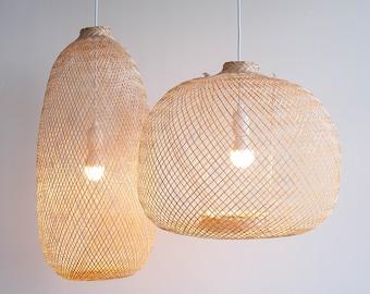 Flexible Bamboo Pendant Light, Fish Trap Ceiling Lamp, Asian Bohemian Woven Bamboo Hanging Lamp, Boho Chinese Lantern, Wabisabi light / PL05