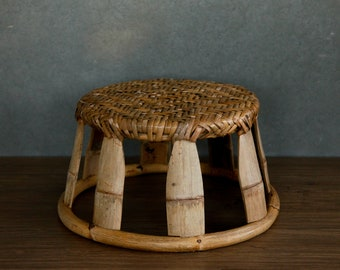 Rustic Bamboo Stool, Low Seat Thai Stool, Asian Bohemian Woven Bamboo Plant Stand, Boho Rattan Stool, Wabisabi Wicker Side Table / BS01